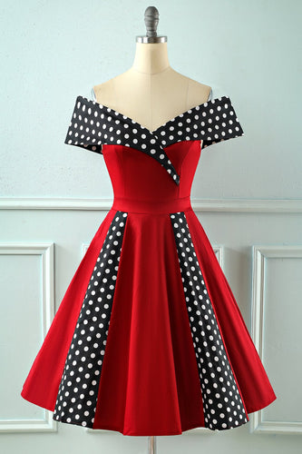 Off Shoulder Rojo Polka Dots 1950s Vestido