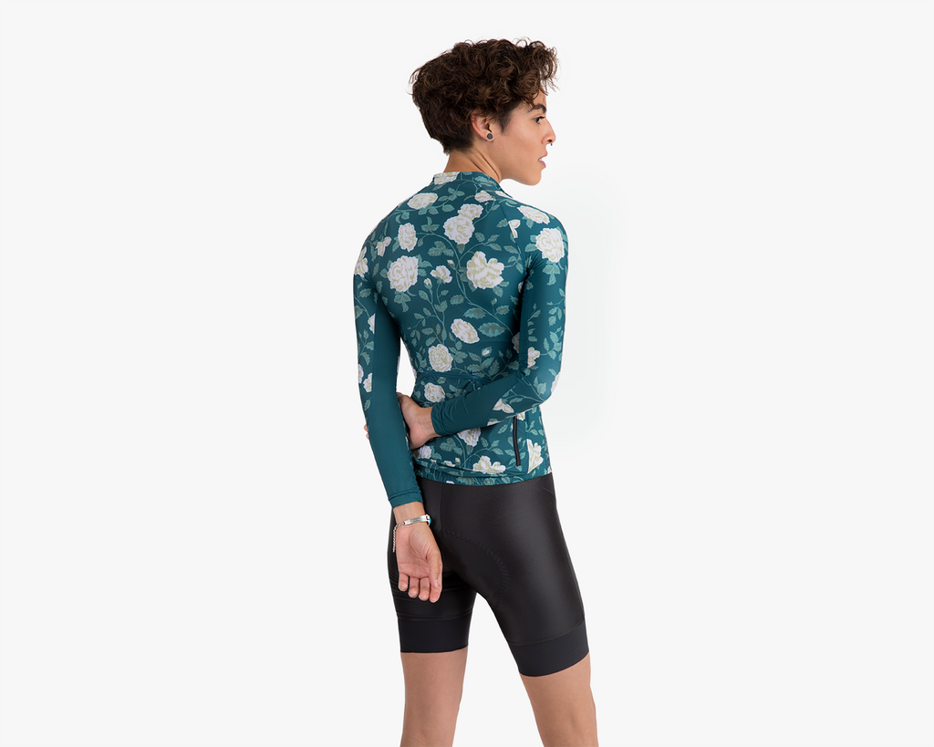 The Summerweight Long Sleeve Cycling Jersey in Jaded Rose