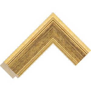 Gold distressed effect frame 51mm wide
