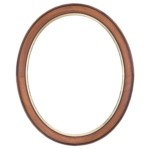 Walnut Oval Picture Frame with Gold edge