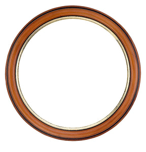 Walnut Circle Picture Frame with gold edge