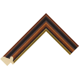 Walnut stain traditional wooden frame with gold edge