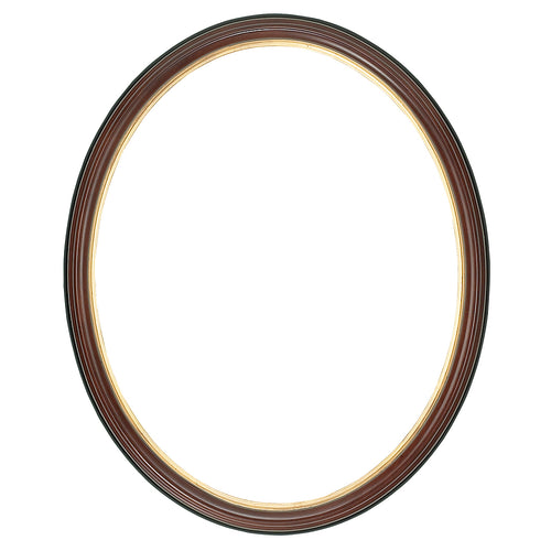 Brown Oval Picture Frame with a gold edge
