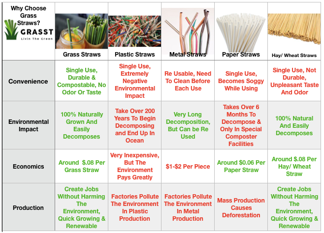 Compare drinking straw options, grass straws, plastic straws, hay straws, metal straws, paper straws
