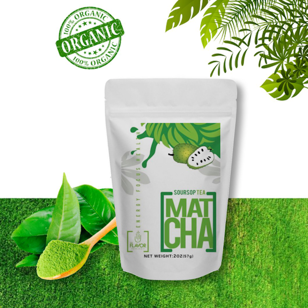 GRAVIOLA MATCHA - SOURSOP JAPANESE MATCHA GREEN TEA POWDER - ORGANIC - FIBER - IMMUNE SUPPORT - 2OZ POUCH