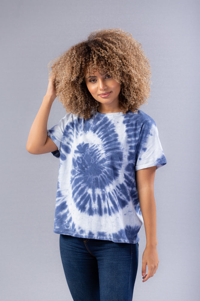 T-Shirt Mujer Tie Dye Color Azul