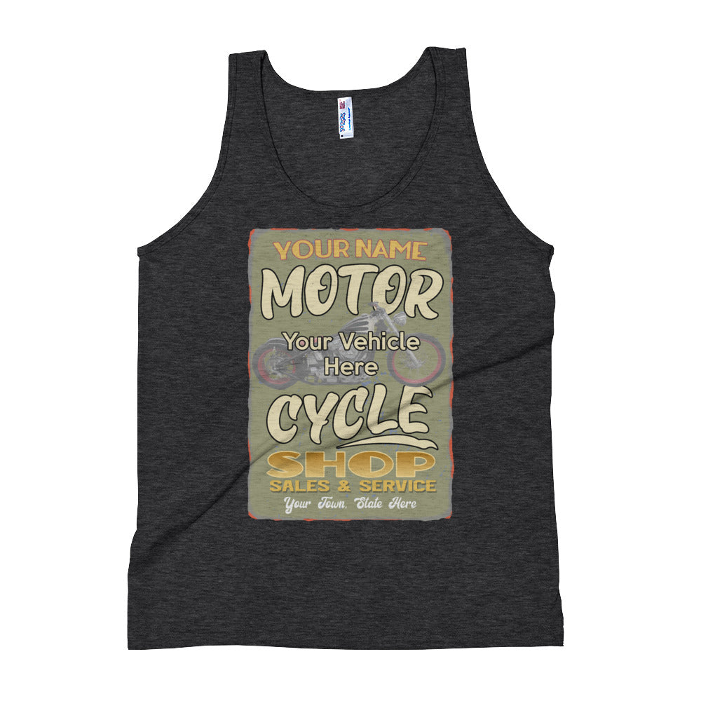 Motorcycle Shop Personalized Men's Tank Top