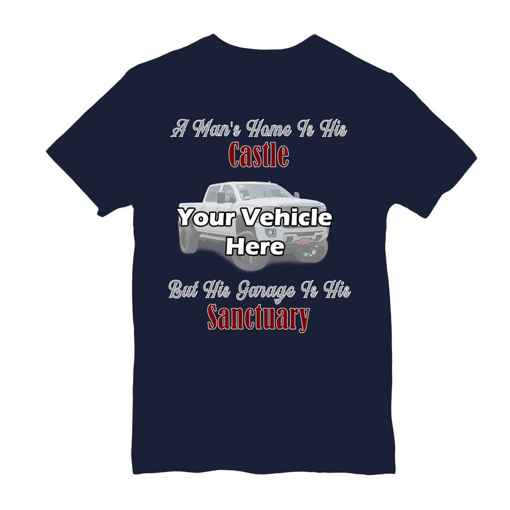 His Garage Is His Sanctuary Personalized Short Sleeve T-Shirt