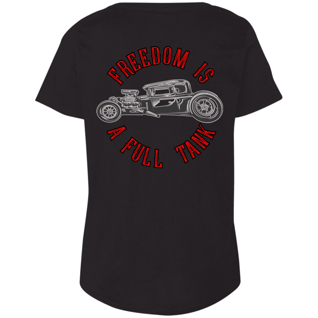 Freedom Is A Full Tank Hot Rod Ladies Curvy Plus Size Short Sleeve T-Shirt