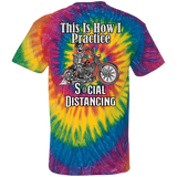 Social Distancing Motorcycle Tie Dye Short Sleeve T-Shirt