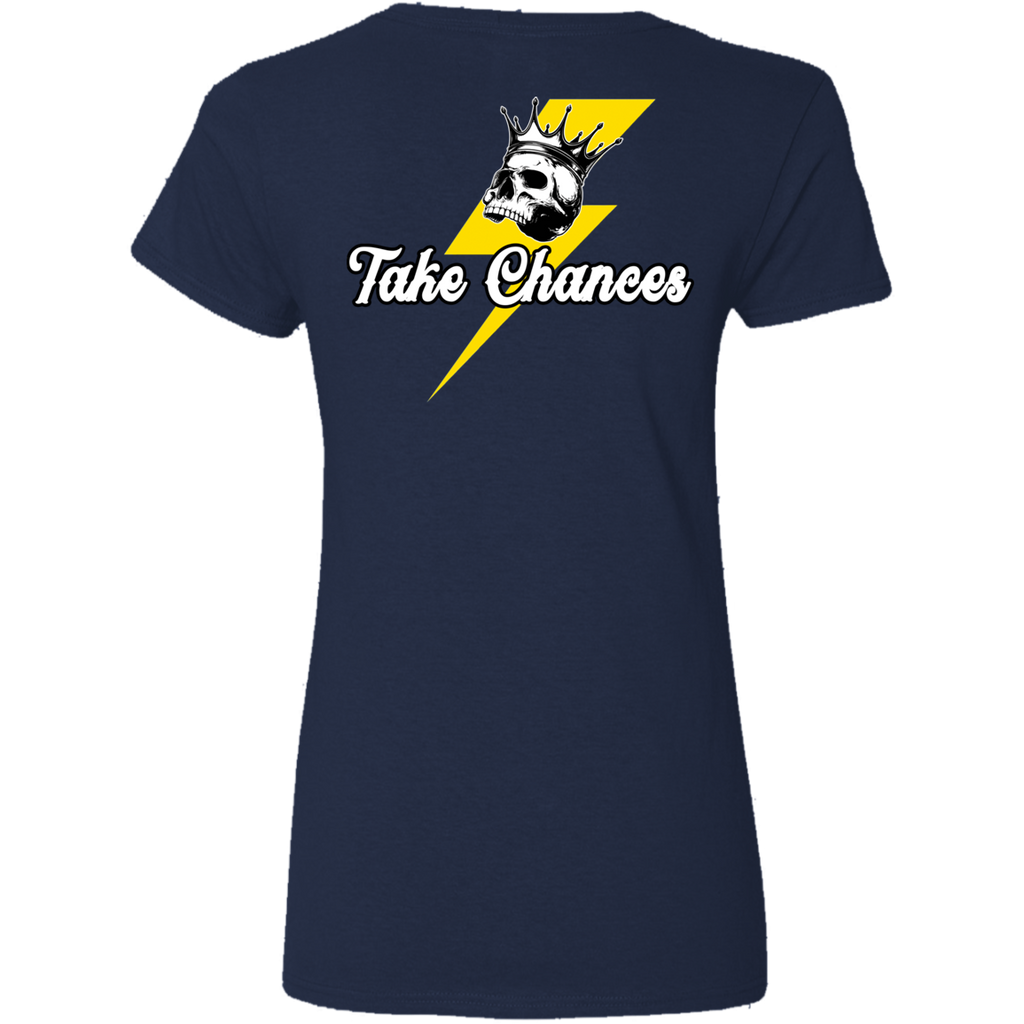 Take Chances Ladies V-Neck T-Shirt