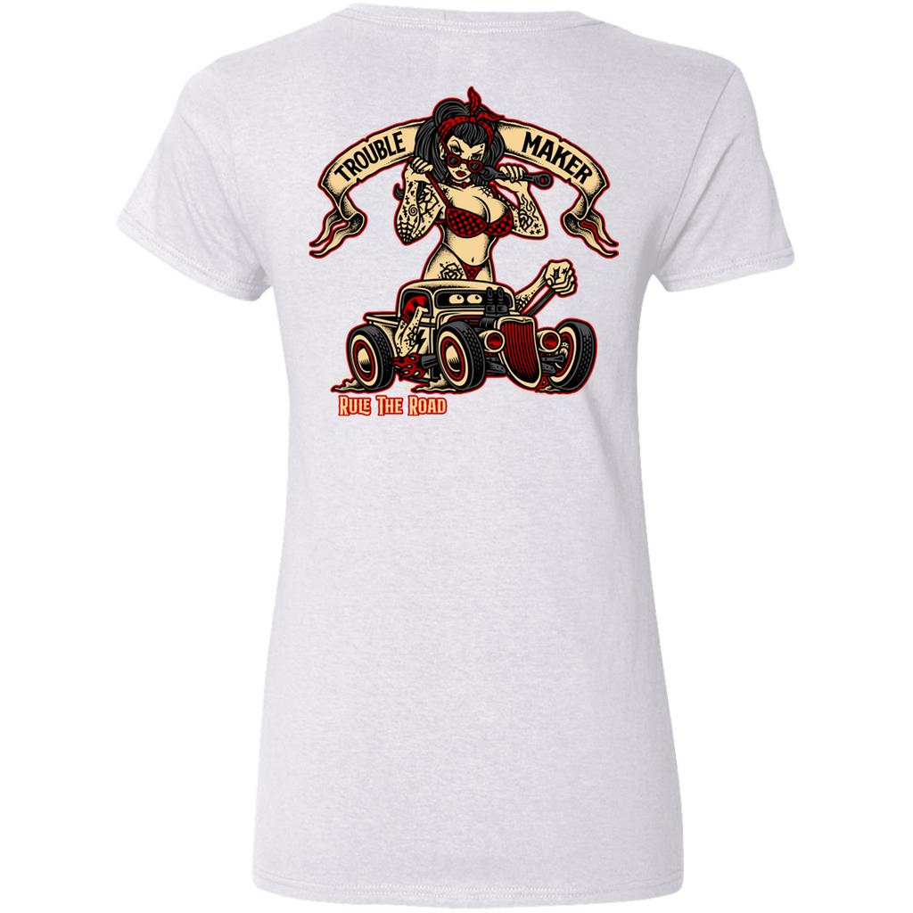 Troublemaker Hot Rod Ladies V-Neck T-Shirt