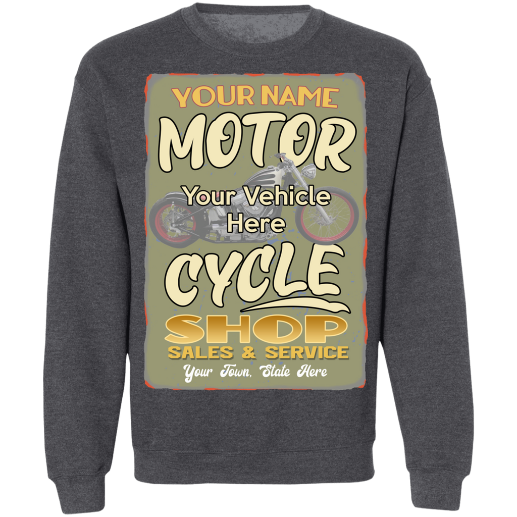 Motorcycle Shop Personalized Crewneck Sweatshirt