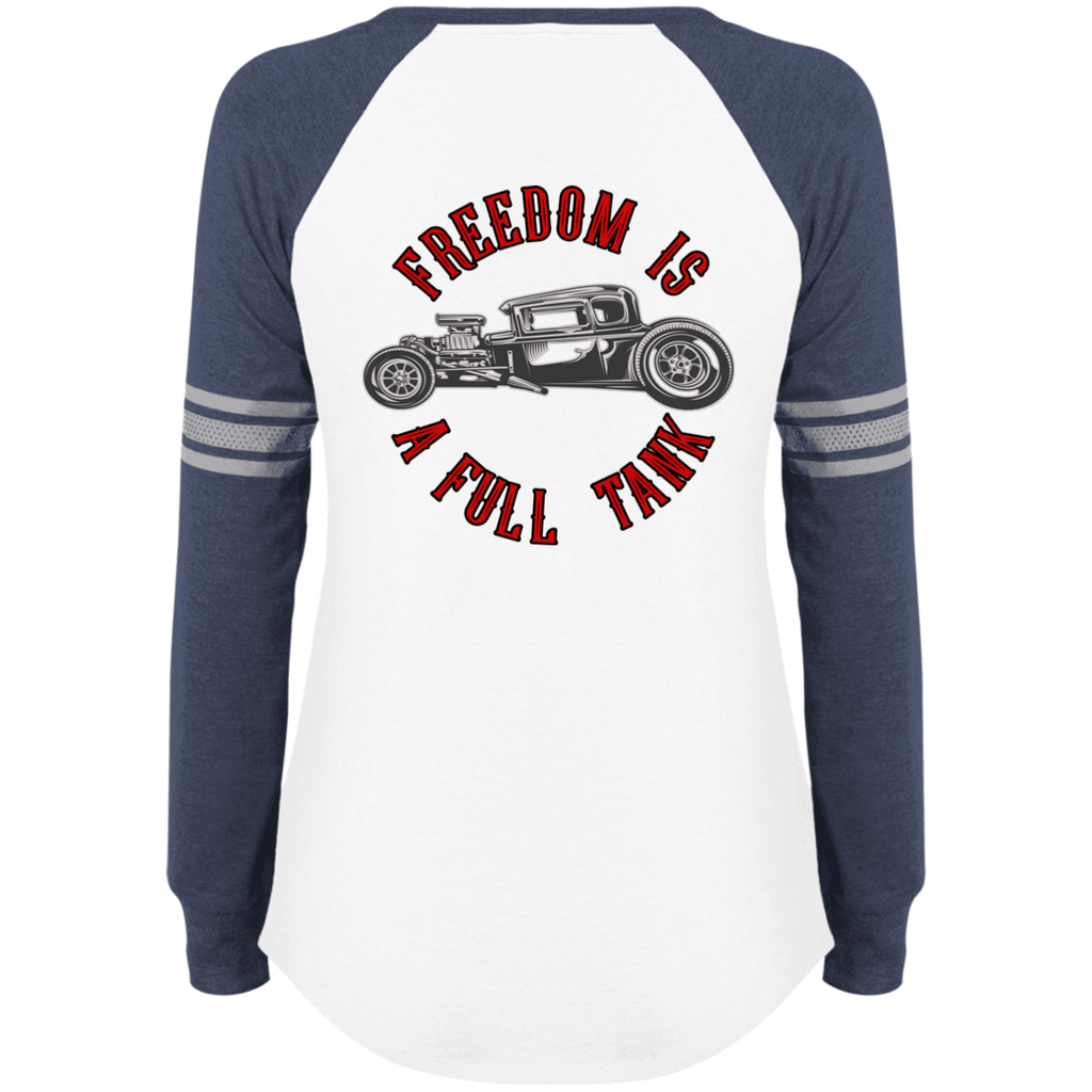 Freedom Is A Full Tank Hot Rod Ladies Game Long Sleeve V-Neck T-Shirt