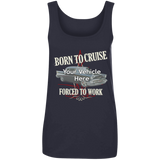 Born To Cruise, Forced To Work Personalized Women's Scoopneck Tank Top