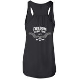 Freedom Is Why I Ride Ladies Flowy Racerback Tank