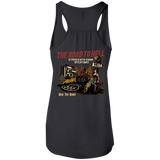 The Road To Hell Motorcycle Ladies Flowy Racerback Tank