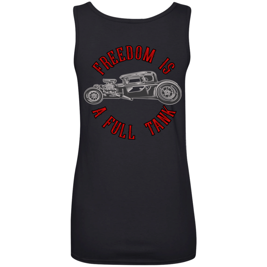 Freedom Is A Full Tank Hot Rod Ladies Scoopneck Tank Top