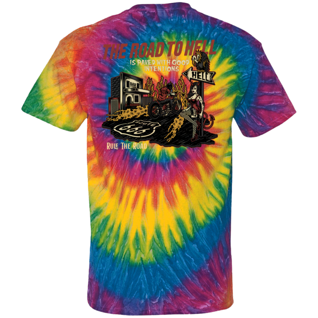 The Road To Hell Motorcycle Tie Dye Short Sleeve T-Shirt