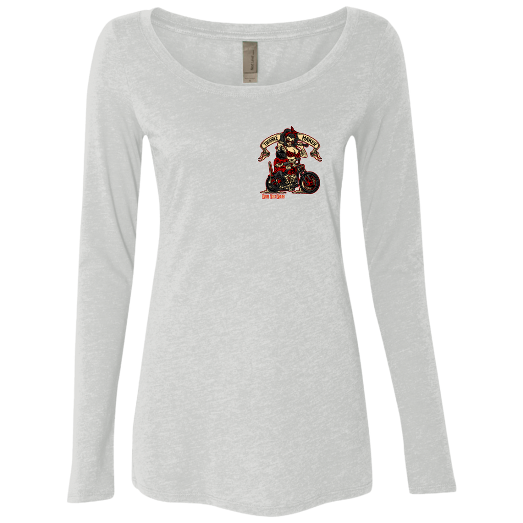 Troublemaker Motorcycle Ladies Long Sleeve Scoop Neck T-Shirt