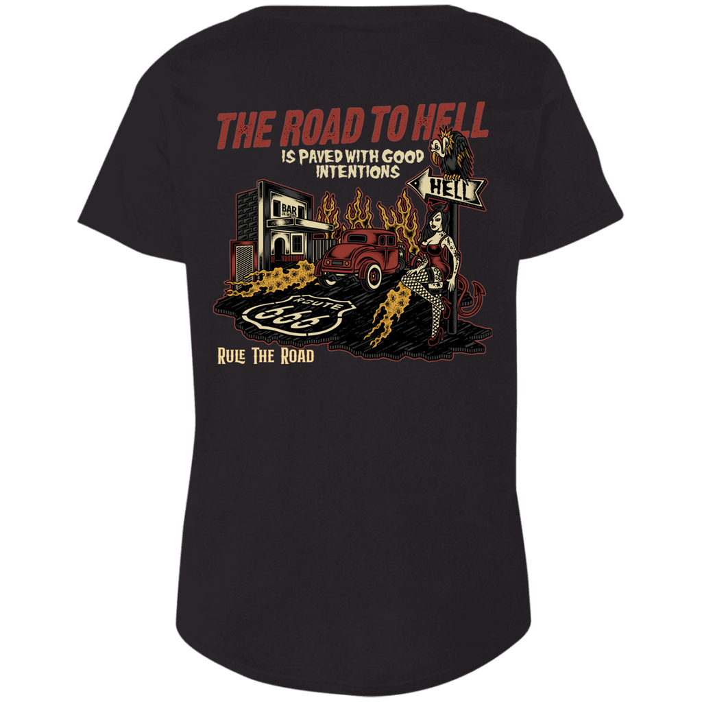 The Road To Hell Hot Rod Ladies Curvy Plus Size Short Sleeve T-Shirt