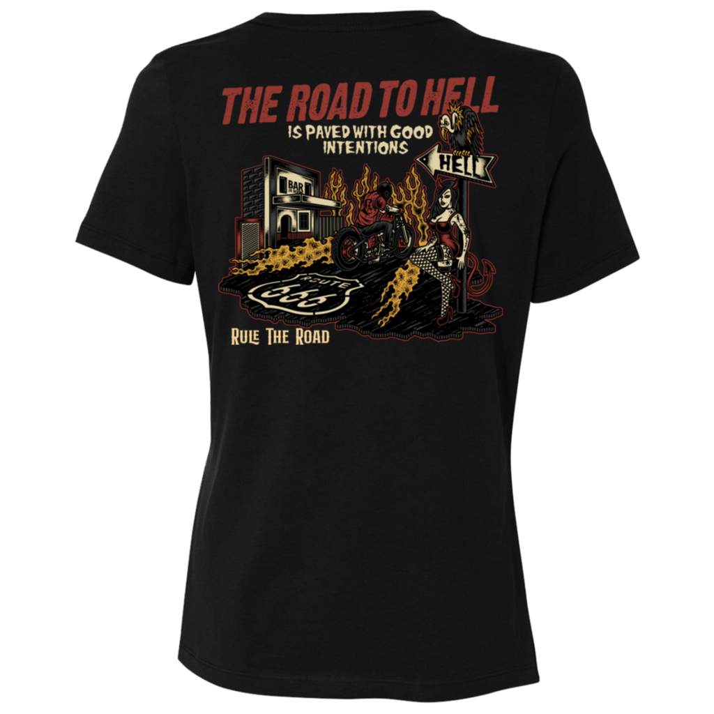 The Road To Hell Motorcycle Ladies Relaxed Fit Short Sleeve T-Shirt