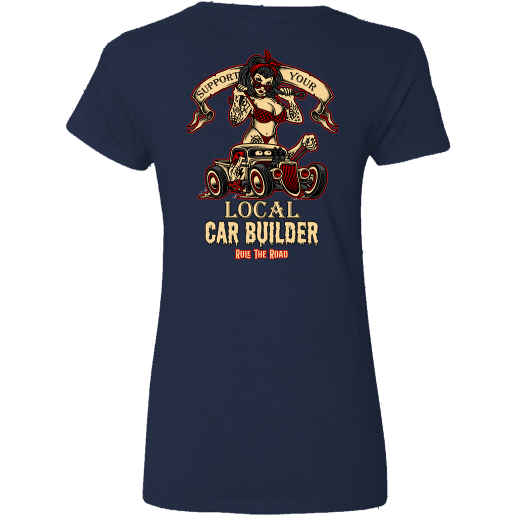 Support Your Local Car Builder Ladies V-Neck T-Shirt