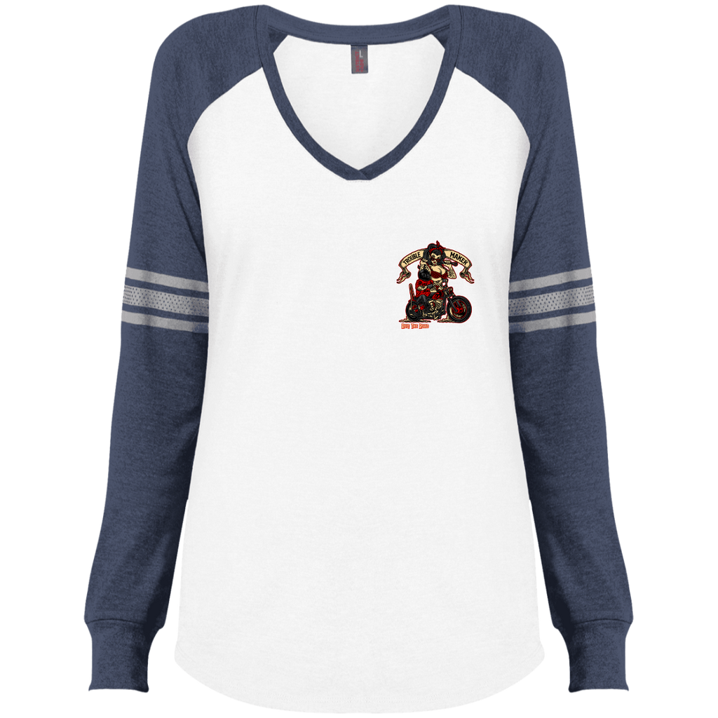 Troublemaker Motorcycle Ladies Game Long Sleeve V-Neck T-Shirt
