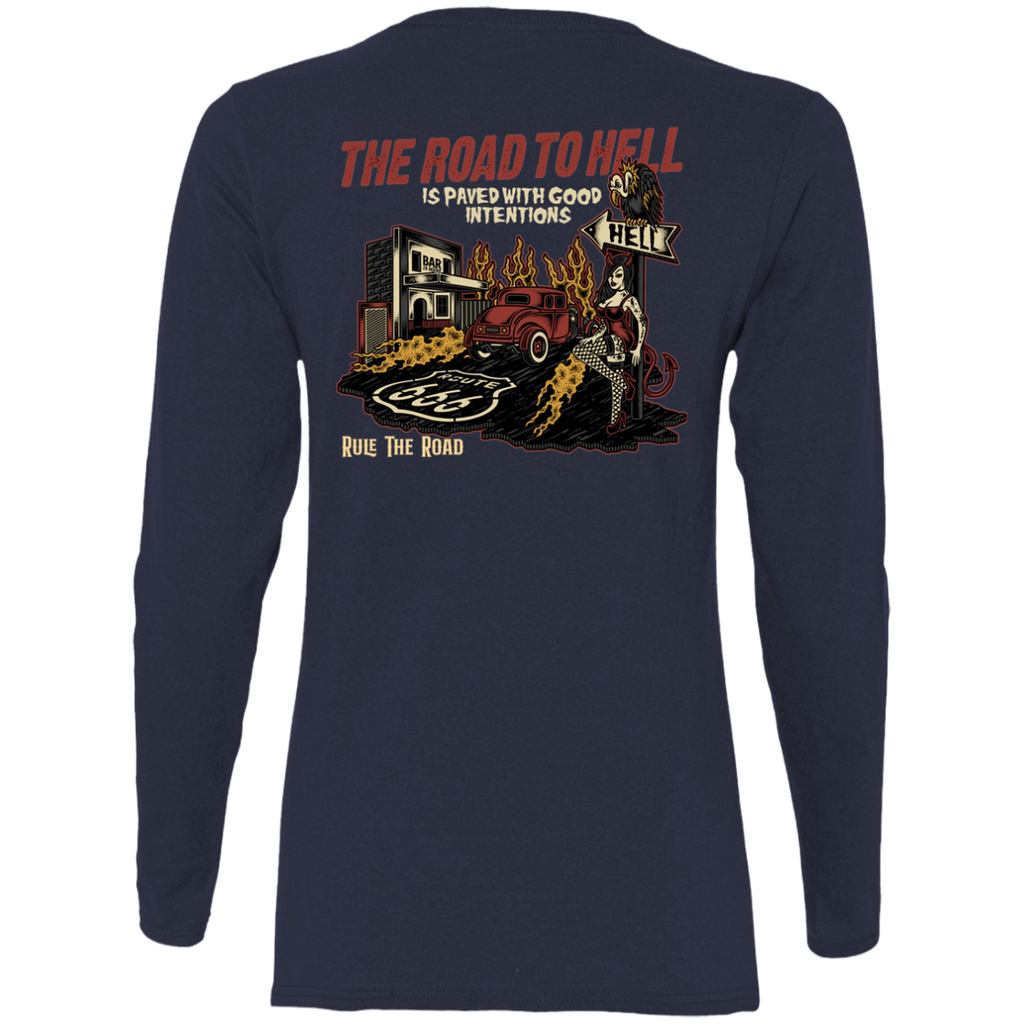 The Road To Hell Hot Rod Ladies Long Sleeve T-Shirt