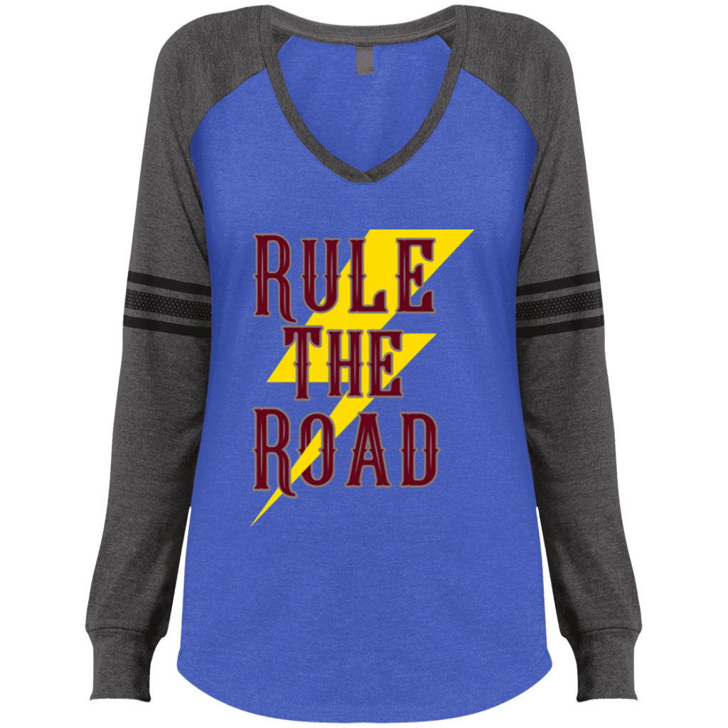 RTR Classic Style Logo Ladies Game Long Sleeve V-Neck T-Shirt