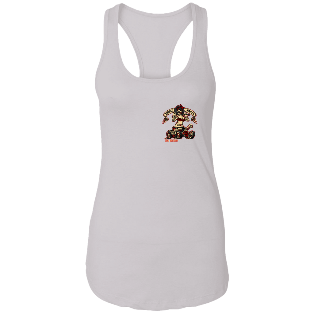 Troublemaker Hot Rod Ladies Ideal Racerback Tank Top