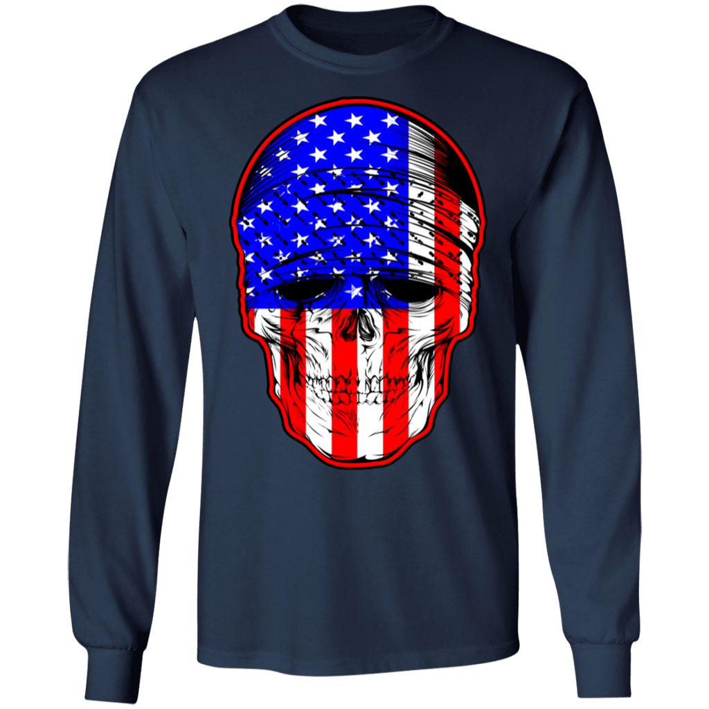 USA Skull Mens Long Sleeve T-Shirt