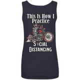 Social Distancing Motorcycle Ladies Scoopneck Tank Top
