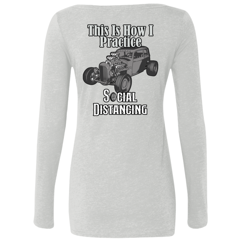 Social Distancing Classic Car Ladies Long Sleeve Scoop Neck T-Shirt