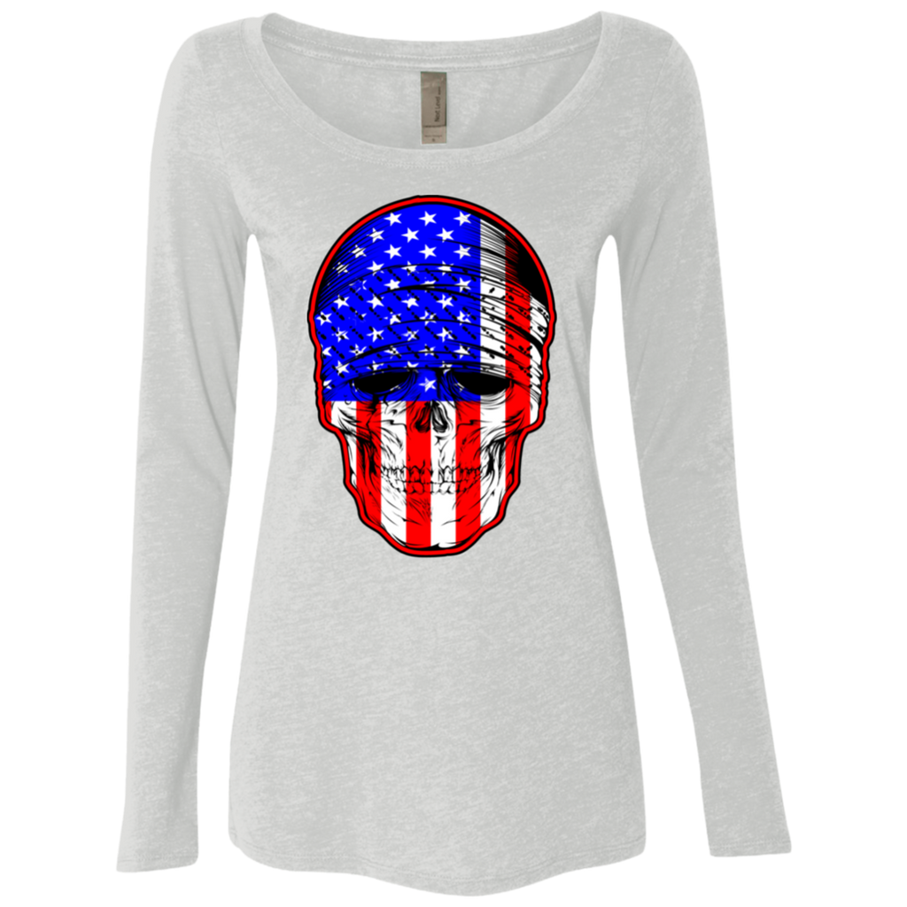 USA Skull Ladies Long Sleeve Scoop Neck T-Shirt