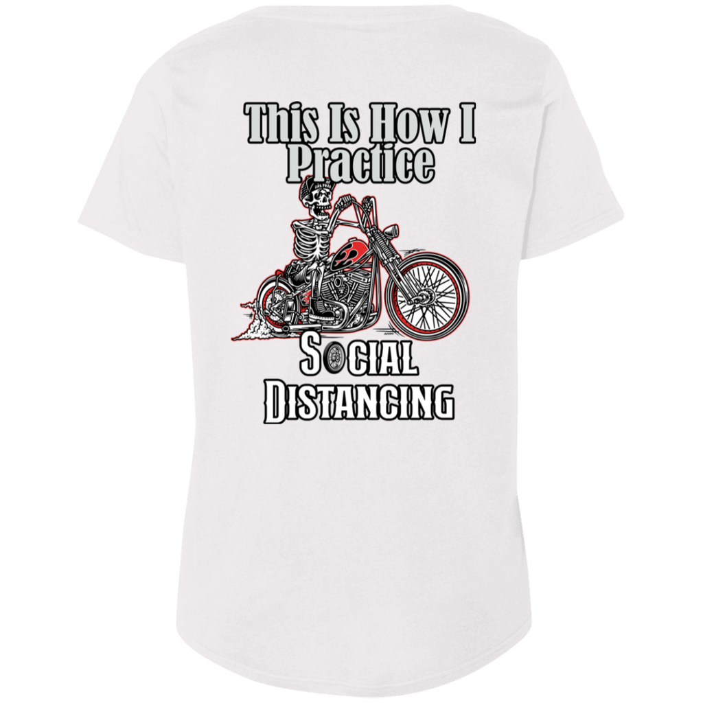 Social Distancing Motorcycle Ladies Curvy Plus Size Short Sleeve T-Shirt