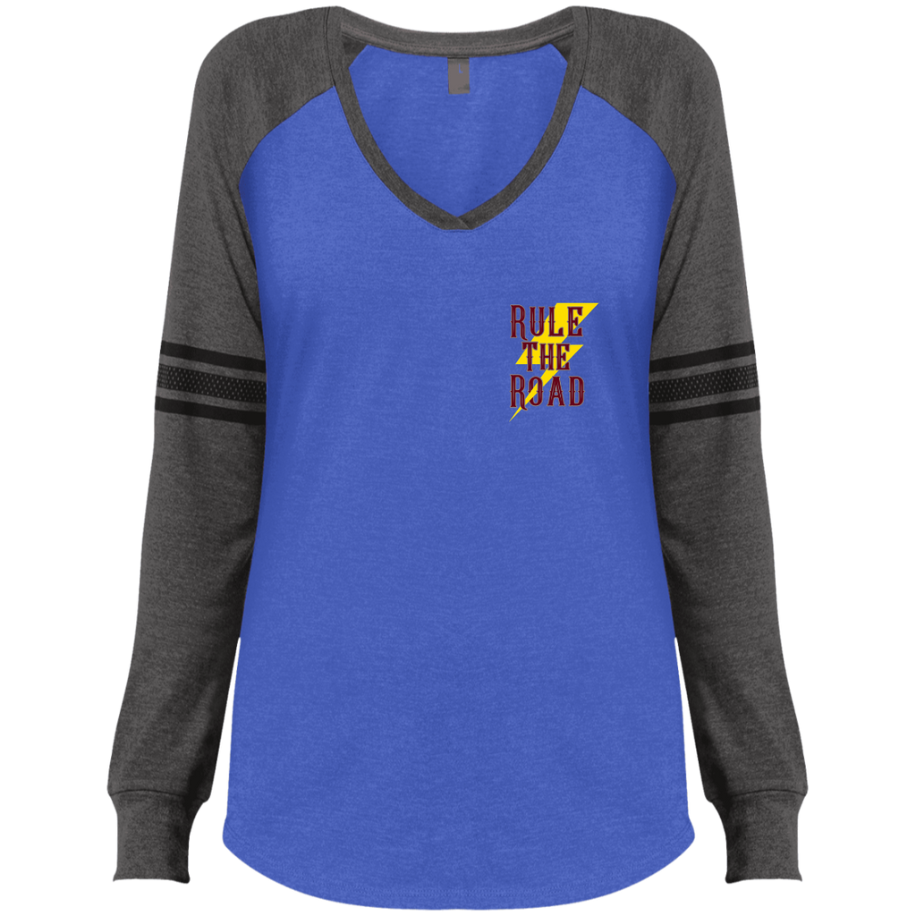 Support Your Local Motorcycle Builder Ladies Game Long Sleeve V-Neck T-Shirt