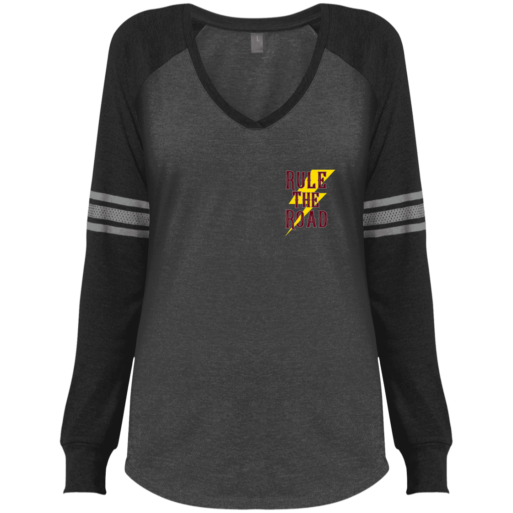 The Road To Hell Motorcycle Ladies Game Long Sleeve V-Neck T-Shirt