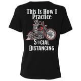 Social Distancing Motorcycle Ladies Relaxed Fit Short Sleeve T-Shirt