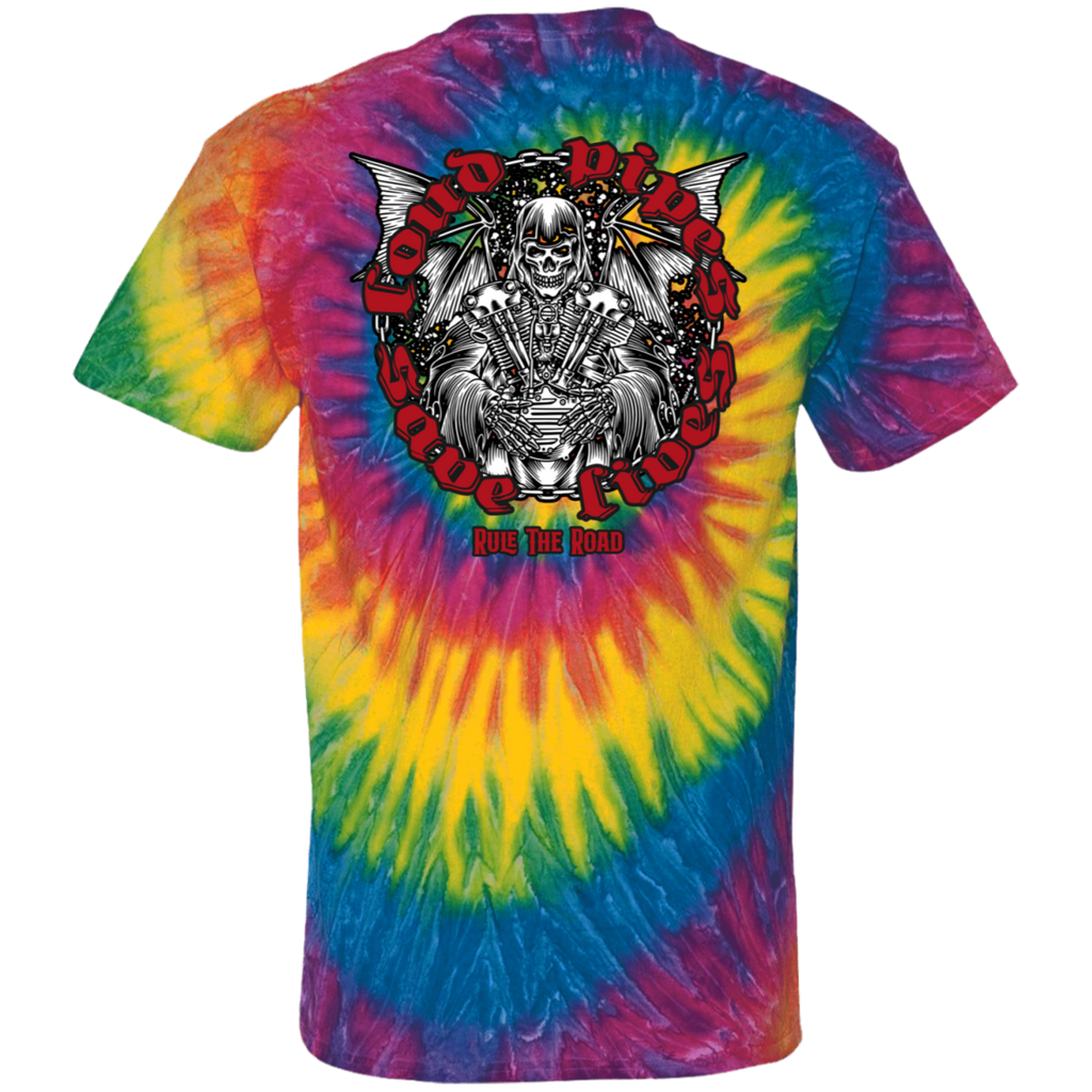 Loud Pipes Save Lives Reaper Tie Dye Short Sleeve T-Shirt