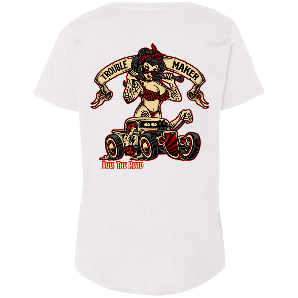 Troublemaker Hot Rod Ladies Curvy Plus Size Short Sleeve T-Shirt