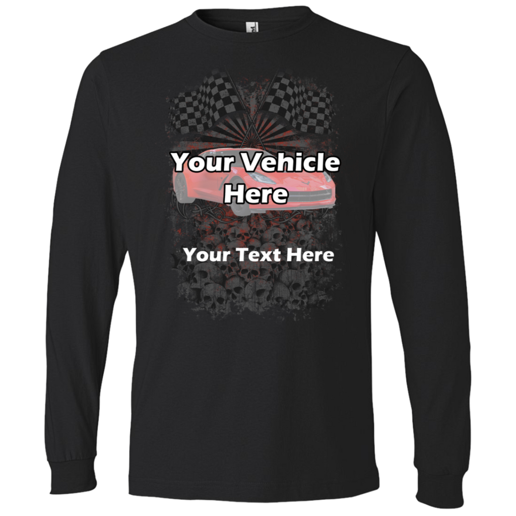 Checkered Flags Personalized Men's Long Sleeve T-Shirt