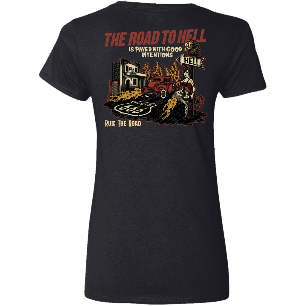 The Road To Hell Hot Rod Ladies V-Neck T-Shirt