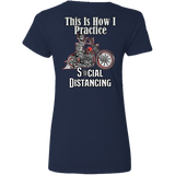 Social Distancing Motorcycle Ladies V-Neck T-Shirt