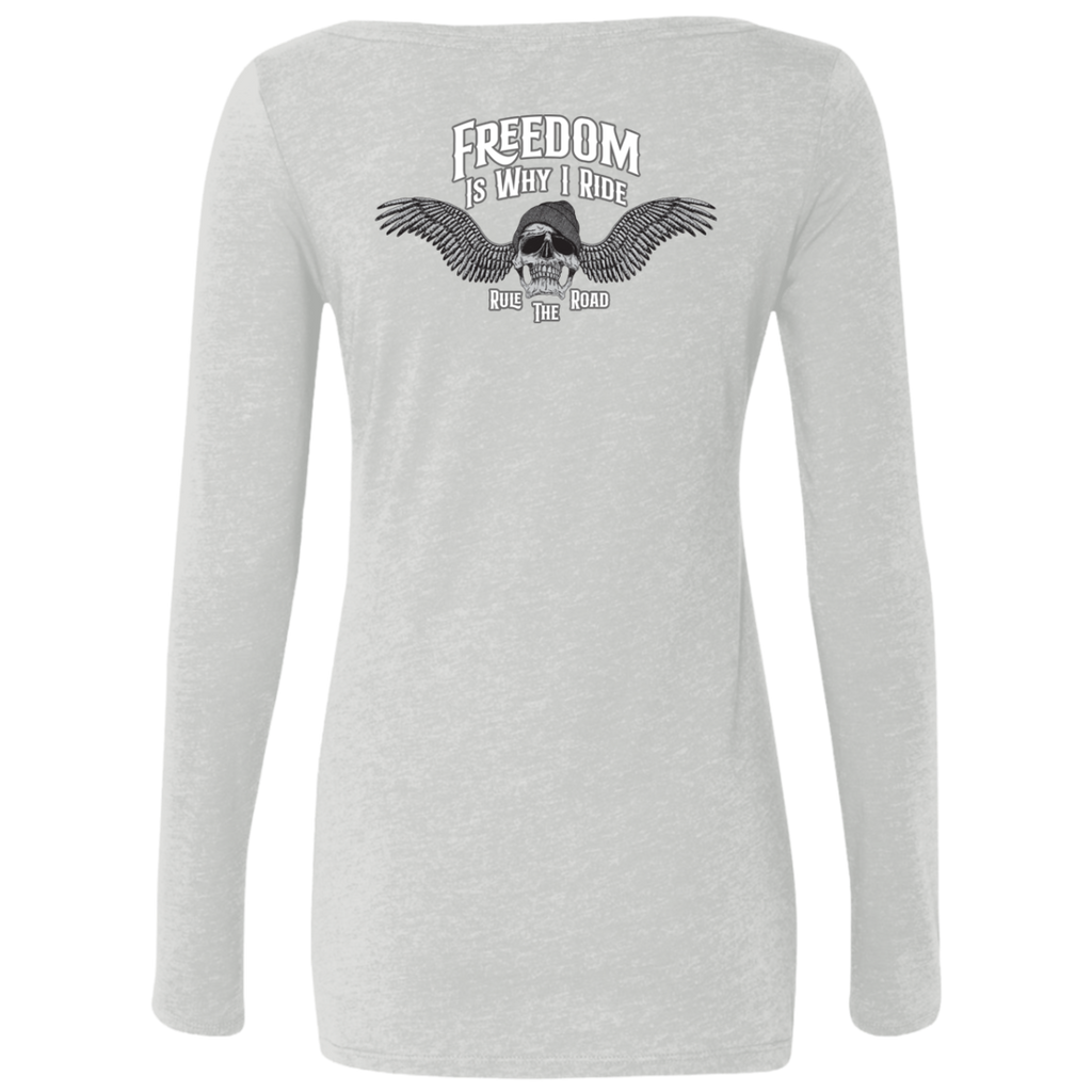 Freedom Is Why I Ride Ladies Long Sleeve Scoop Neck T-Shirt