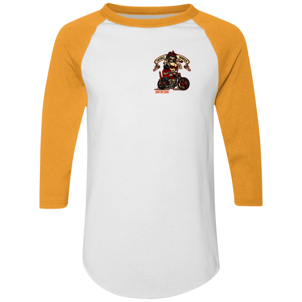 Troublemaker Motorcycle Mens 3/4 Sleeve Raglan Jersey