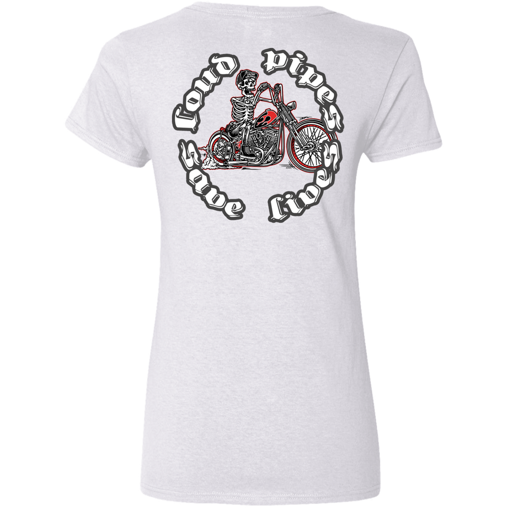 Loud Pipes Save Lives Bobber Ladies V-Neck T-Shirt