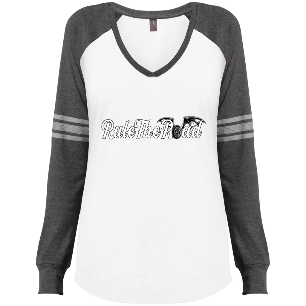 RTR Winged Wheel Logo Ladies Game Long Sleeve V-Neck T-Shirt