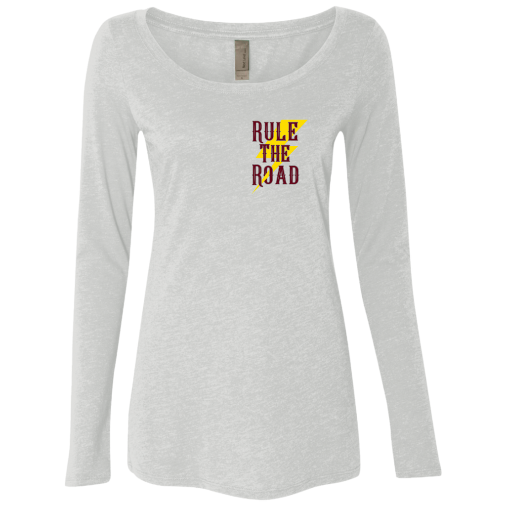 Social Distancing Motorcycle Ladies Long Sleeve Scoop Neck T-Shirt