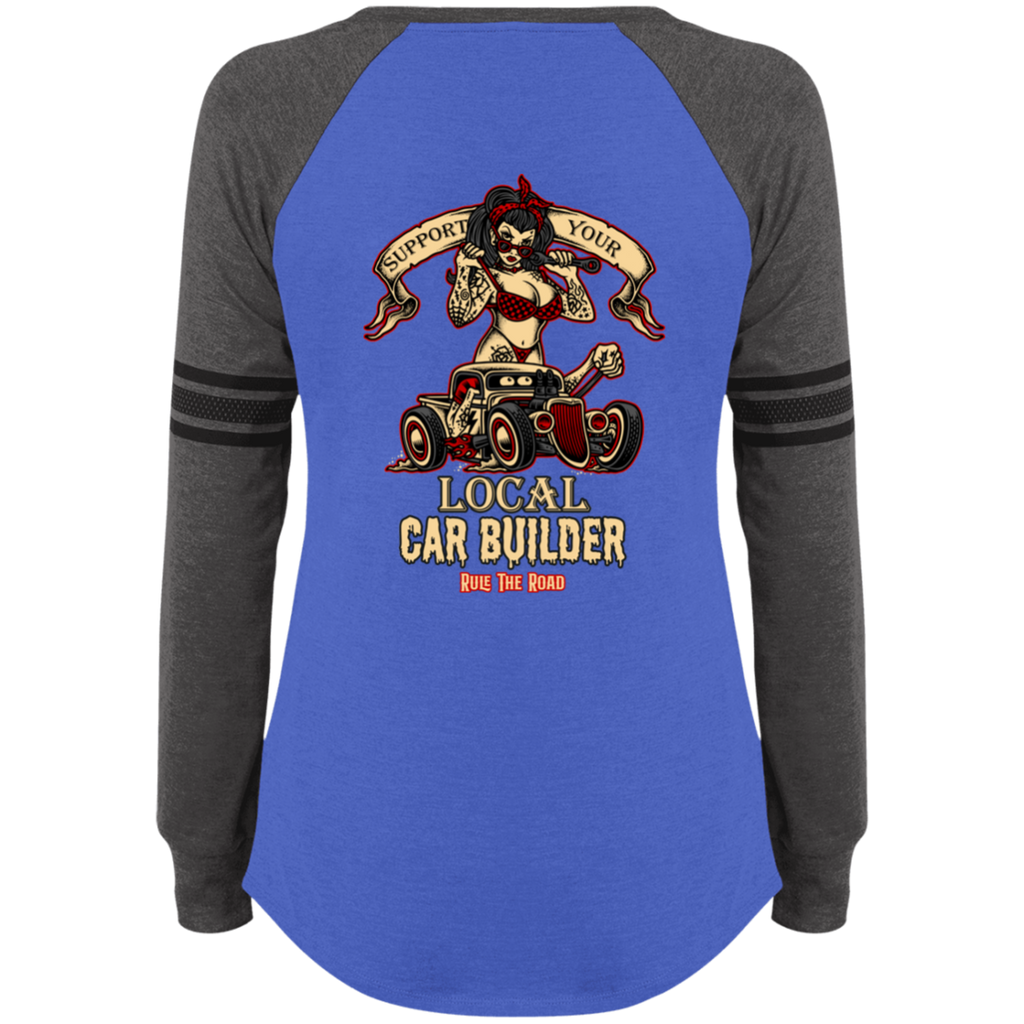 Support Your Local Car Builder Ladies Game Long Sleeve V-Neck T-Shirt
